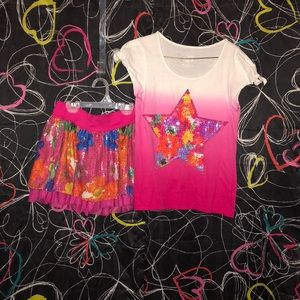 Justice brand shirt and skirt set